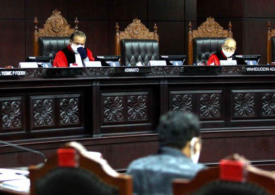 Uji Materi Perppu No. 1 tahun 2020 di Gedung Mahkamah Konstitusi, Jakarta pada (14/5) (MI/Adam Dwi)