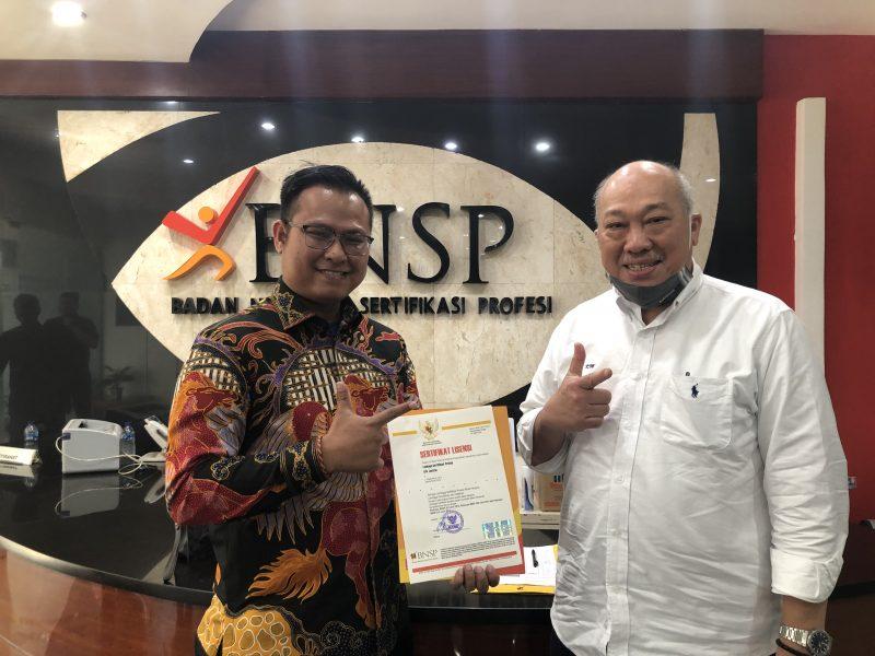 Ketua LSP Justitia, Andriansyah Tiawarman K bersamaBapak Kunjung Masehat, Ketua Badan Nasional Sertifikasi Profesi (BNSP)